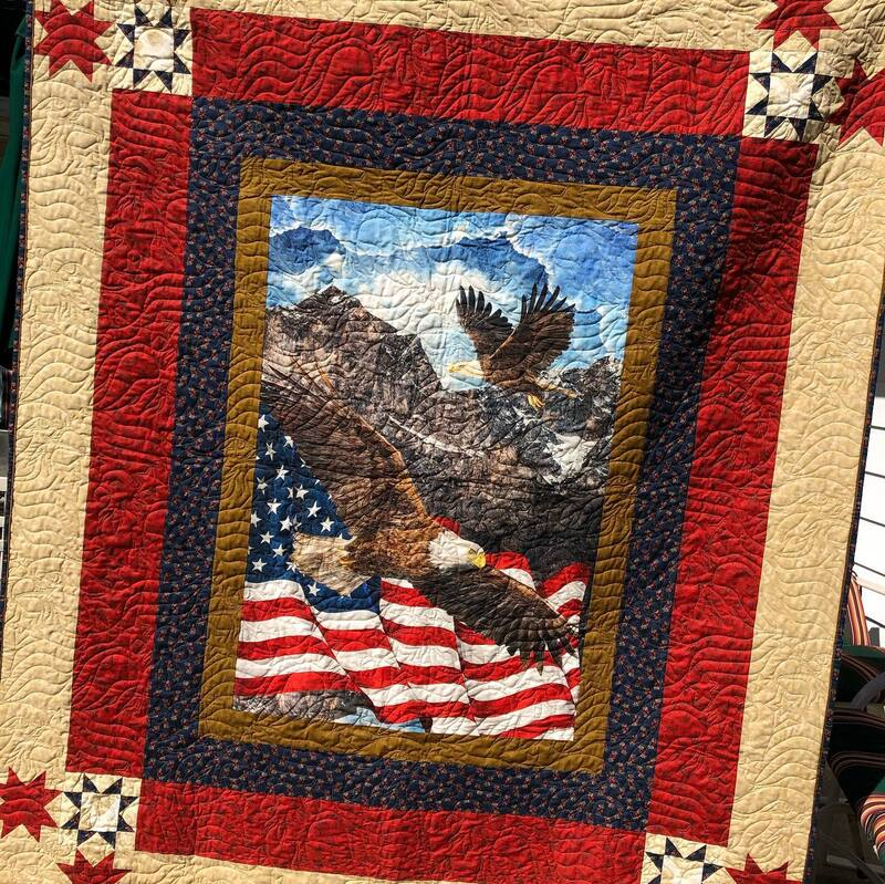 Quilt of Valor; Where Eagles Dare; Patriotic Quilt, pieced and machine quilted by Amy Martin of Peaceful Quilts in Lafayette Indiana